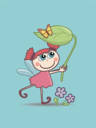 A little fairy with a lief and a butterfly on it Vector