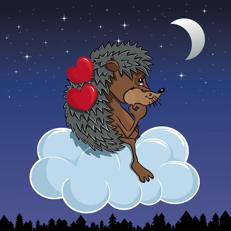 Cartoon hedgehog with hearts flying on the cloud Vector