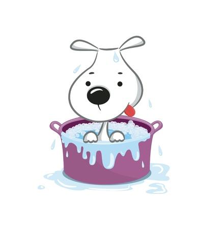 Funny puppy illustration.Isolated on white. Vektorové ilustrace