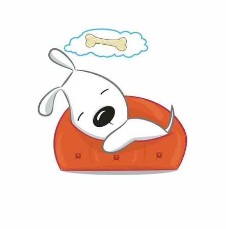 Funny puppy illustration.Isolated on white. Vector