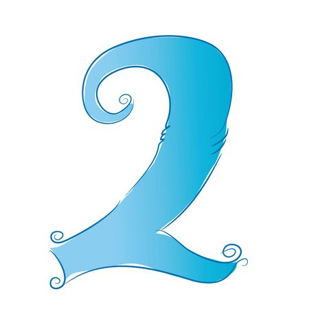 two stroke: Hand drawn numbers Illustration