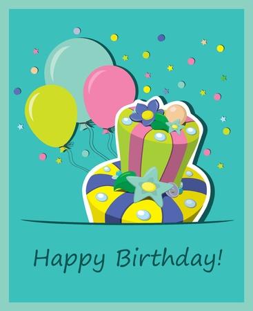 pastel de cumpleaños. Tarjetas de Felicitación Foto de archivo - 13098425