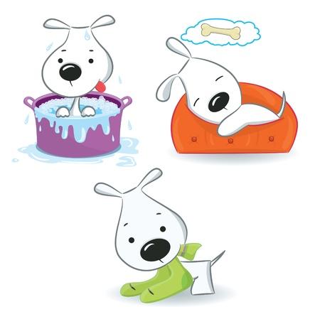 hueso de perro: Tres puppies.Isolated divertida sobre fondo blanco