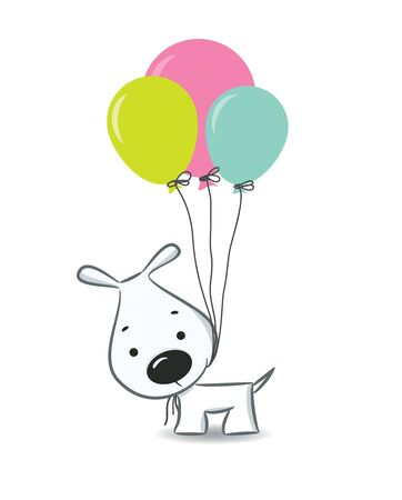 romantic picture: Cute cartoon dog with balloons