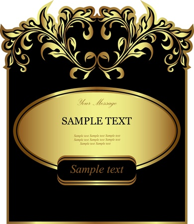 Black gold-framed label Vector