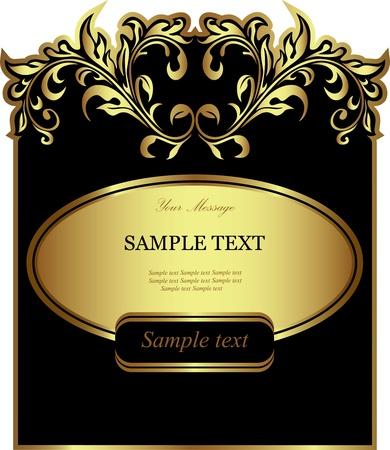 Black gold-framed label