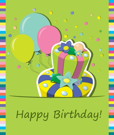 Vector birthday cake   Greeting Card Stock Vector - 13165623