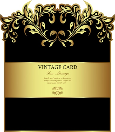 Luxury black with white gold-framed label Vector