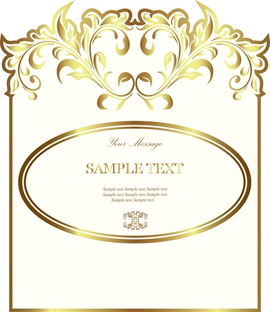 White gold-framed label Stock Vector - 13165627