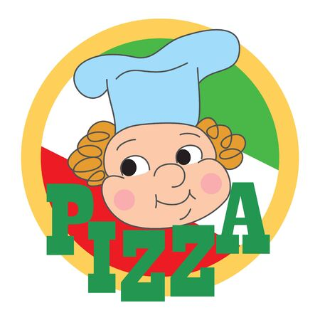 Pizza label design with a cartoon chef Vector