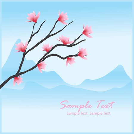 traditionally chinese: Vector spring floral background