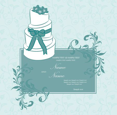Wedding invitation or announcement with wedding cake  Vector illustration Vector
