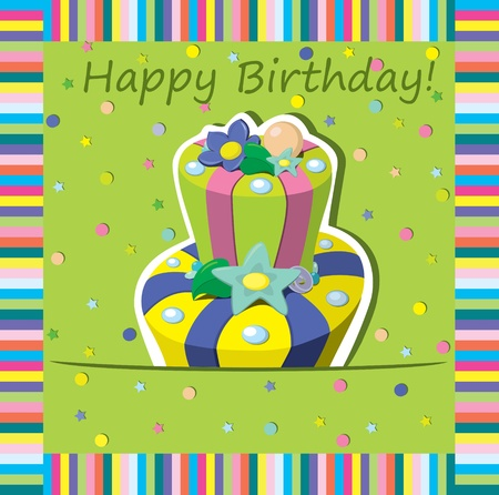 happy birthday girl: Vector birthday cake   Greeting Card