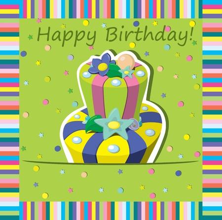 geburtstag rahmen: Vector Geburtstagstorte Gru�karte