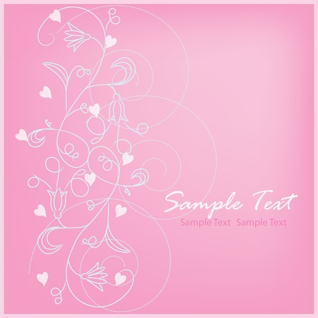 swirly design: Romantic floral background The greeting card