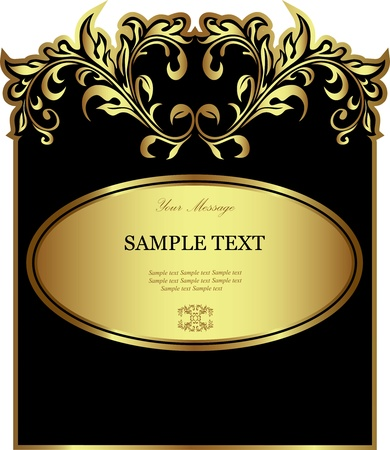 food label: Luxury black gold-framed label Illustration