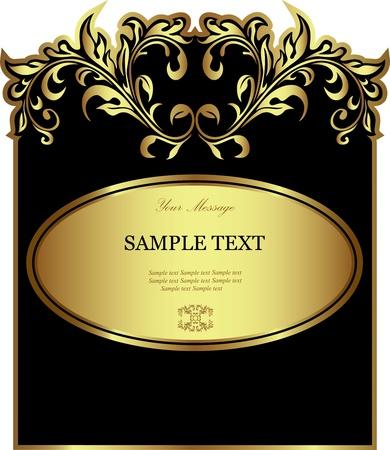 banner sign label background: Luxury black gold-framed label Illustration
