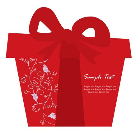 red gift box: Red gift box card Illustration