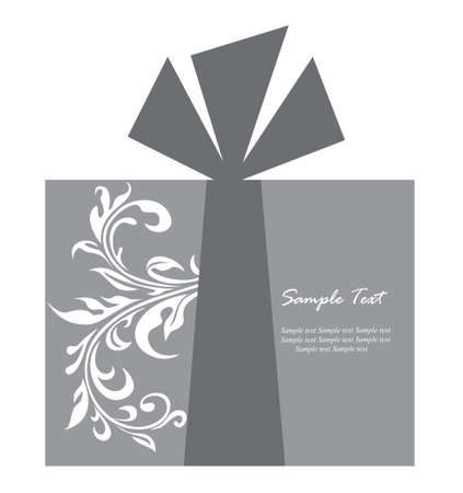 grey backgrounds: Gift box card Illustration