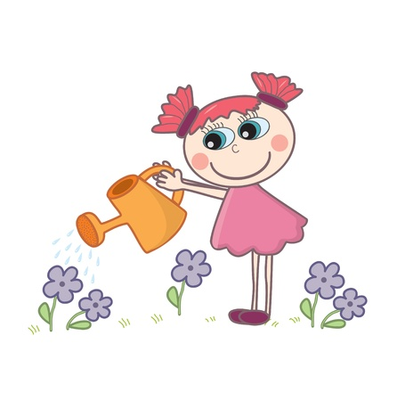 simple girl: A little cartoon girl watering flowers