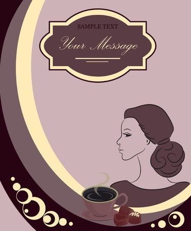 woman bar: Vector design for coffee house or shop, the background Illustration