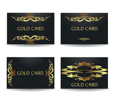 A set of gold vector cards Vector