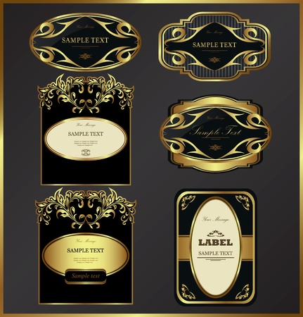 Luxury gold-framed labels vector set Illustration