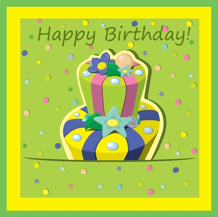 Vector birthday cake   Greeting Card Stock Vector - 13282267