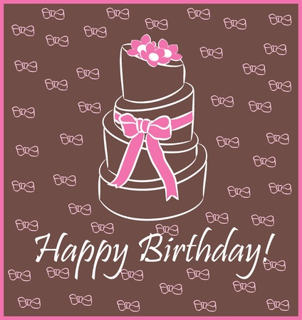 happy birthday girl: birthday cake   Greeting Card Illustration