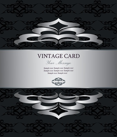 Luxury silver vintage card  Vector