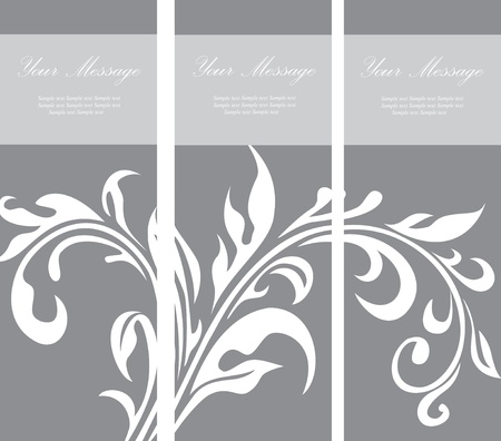 triptych: Set of floral invitation cards  Illustration