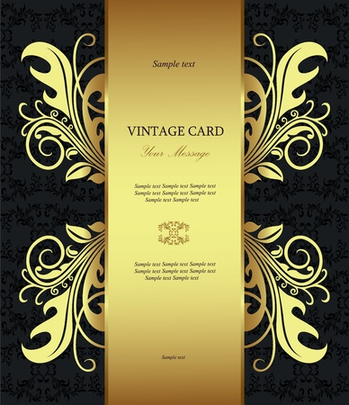 Luxury golden vintage styled card  Vector