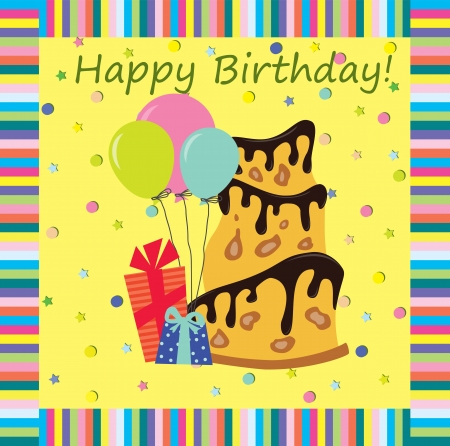 happy people: A birthday greeting card  Vector illustration, the background