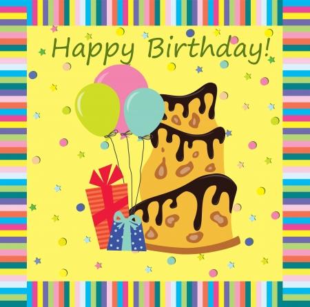 persona alegre: Un cumpleaños de tarjetas de felicitación Ilustración del vector, el fondo