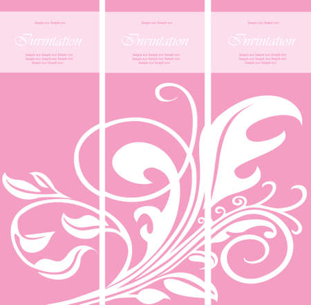 triptych: Set of floral invitation cards