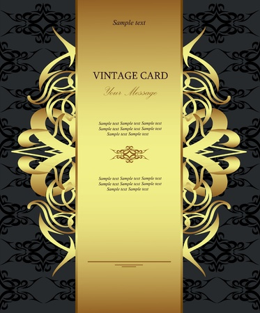 invitation card: Golden vintage card