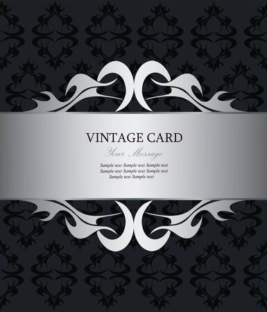 Luxury silver vintage card Vector