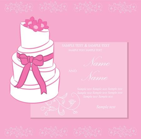 Bruiloft uitnodiging of aankondiging met bruidstaart Vector Illustratie