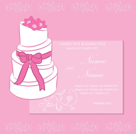 bridal shower: Wedding invitation or announcement with wedding cake