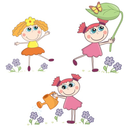 Cartoon girls set Vector