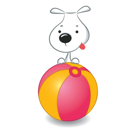 A funny dog sitting on the ball Stock Vector - 15103177