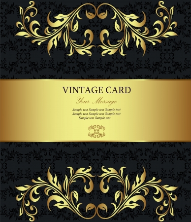 Floral golden vintage card  Vector