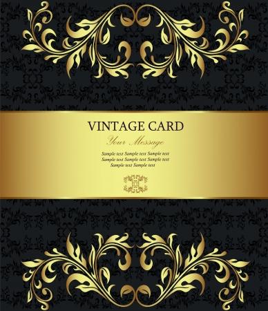 wine label: Floral golden vintage card