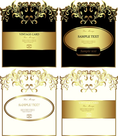 liquor: Floral gold-framed labels vector set  Illustration