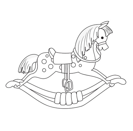 old horse: Outlined Rocking Horse  Vector  Illustration