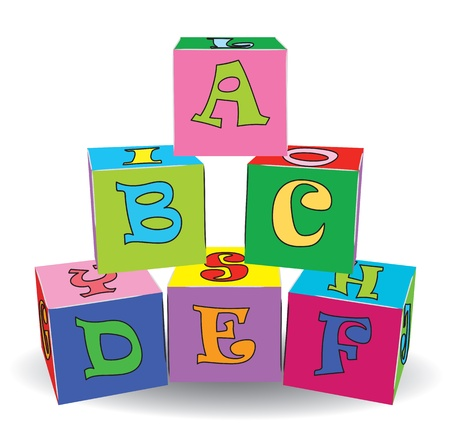block letters: Colorful letter cubes toys  Vector illustration