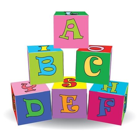 basic letters: Colorful letter cubes toys  Vector illustration