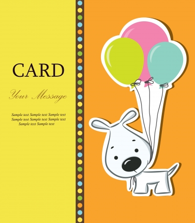 Nice card with funny cartoon dog  Vector