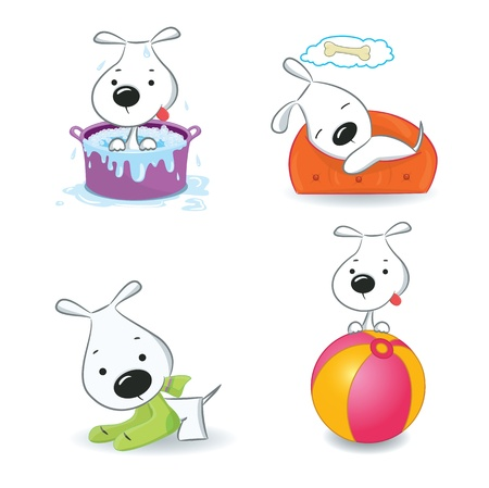 bowl game: A set of funny puppies Isolated on white