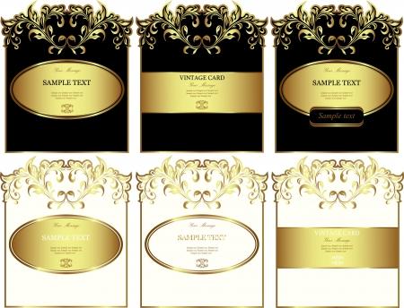 gold label: Floral gold-framed labels  Illustration